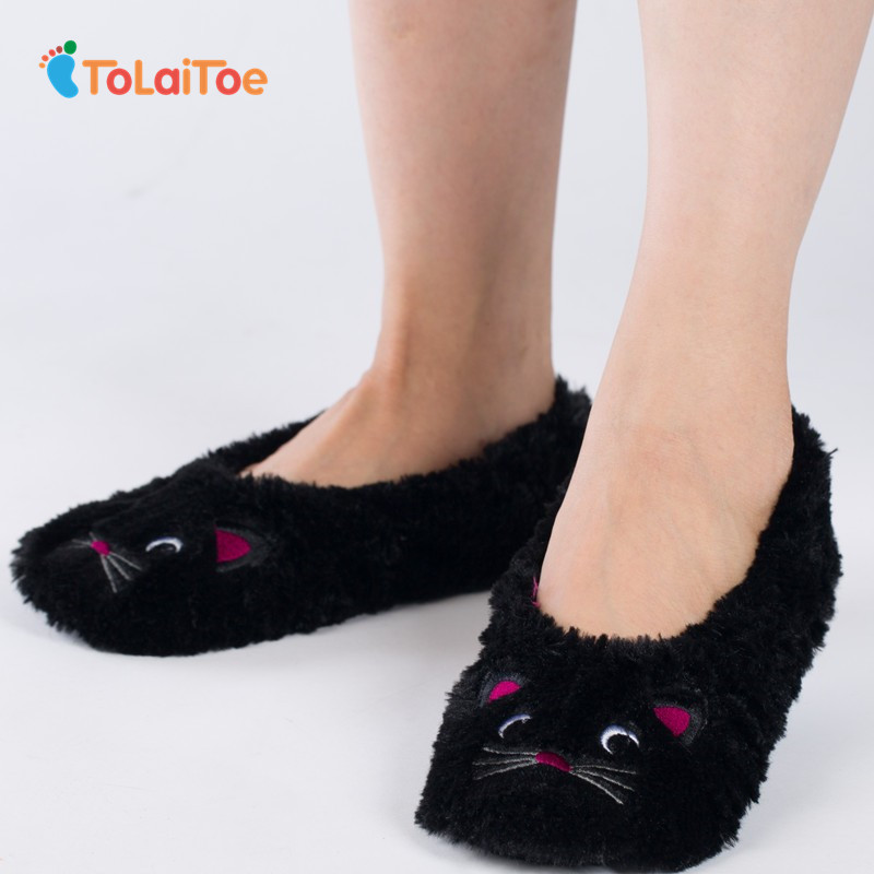 ToLaiToe latest Style Winter Cute Embroidered Cartoon Home Slippers Animal Flannel Slippers Plush Household slippers tolaitoe autumn winter animals fox household slippers soft soles floor with indoor slippers plush home slippers