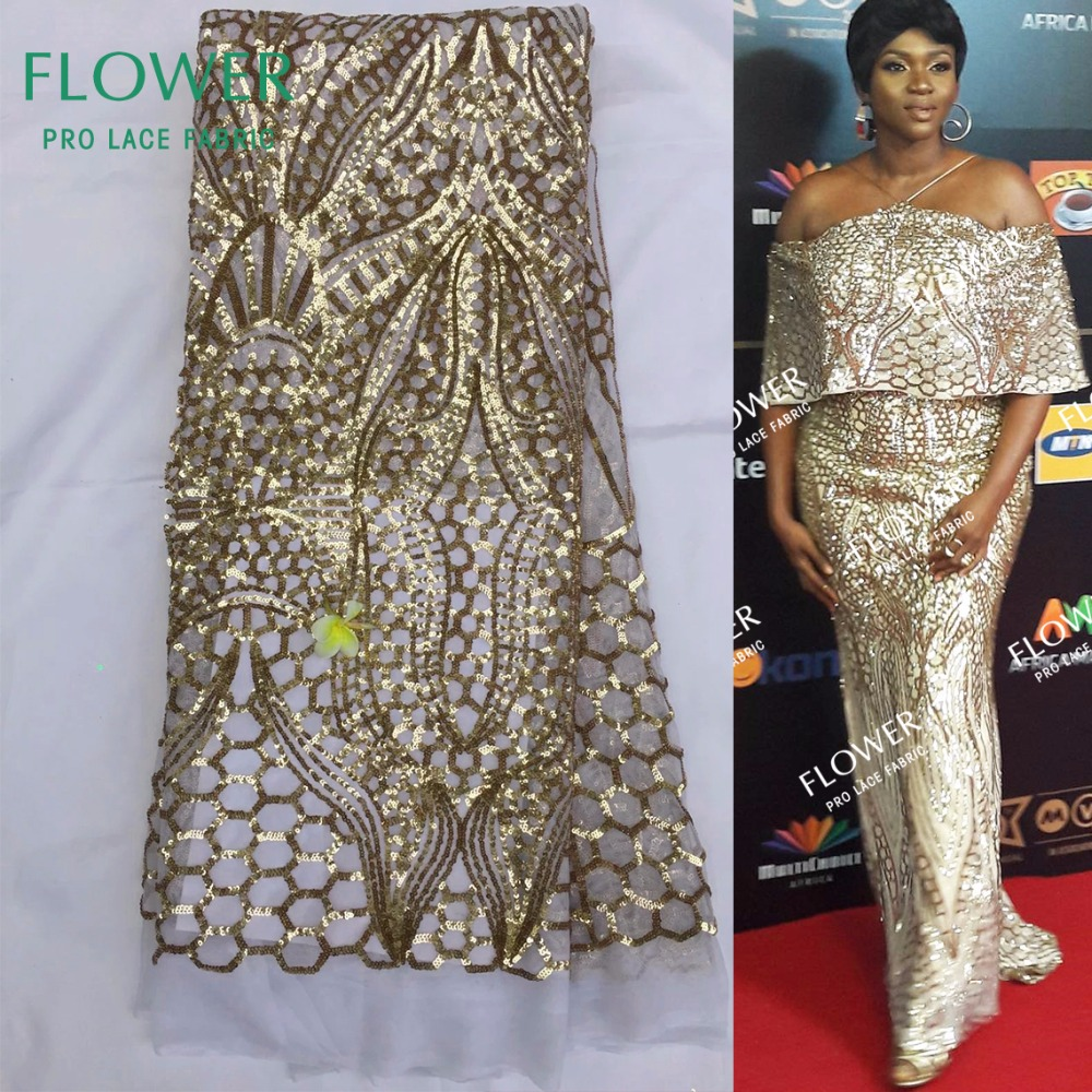 2017 New African Sequins Lace fabric High Quality French Sequins Net Lace Gold Sequin Fabric For