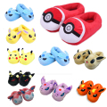 Children soft plush Slipper  anime Cartoon Elf Ball Pikachu Eevee Sylveon Flareon Glaceon Umbreon Home House Winter Shoes