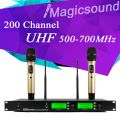 200 adjustable Channel !! 500-700MHz !! Gold Color Dual Handheld Wholel Metal UHF Wireless Microphone Mic System for Karaoke KTV