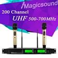 200 adjustable Channel !! 500-700MHz !! Gold Color Dual Handheld Wholel Metal UHF Wireless Microphone Mic System for Karaoke KTV