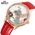 WEIQIN Fashion Women Luxury Quartz Watch Rhinestone hummingbird dial Watches PU Leather Strap Rose Gold Case Dress Wristwatches