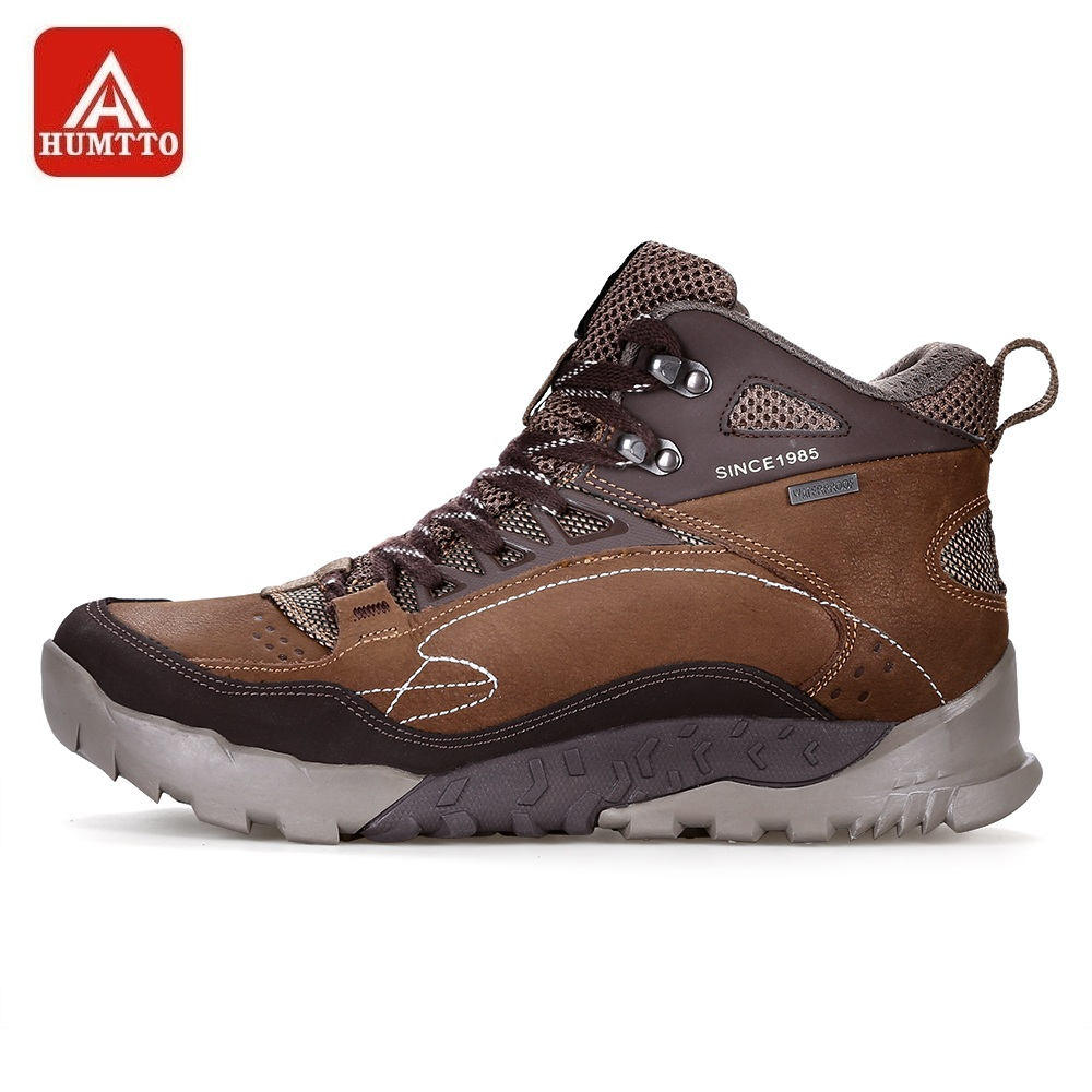 HUMTTO Hiking Shoes Men High Cut Genuine Leather Sneakers Lace Up Non slip Climbing Sport Shoes