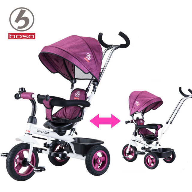 BOSO baby bicycle rubber wheel air inflatable wheel steel frame light children tricycle with rotation seat