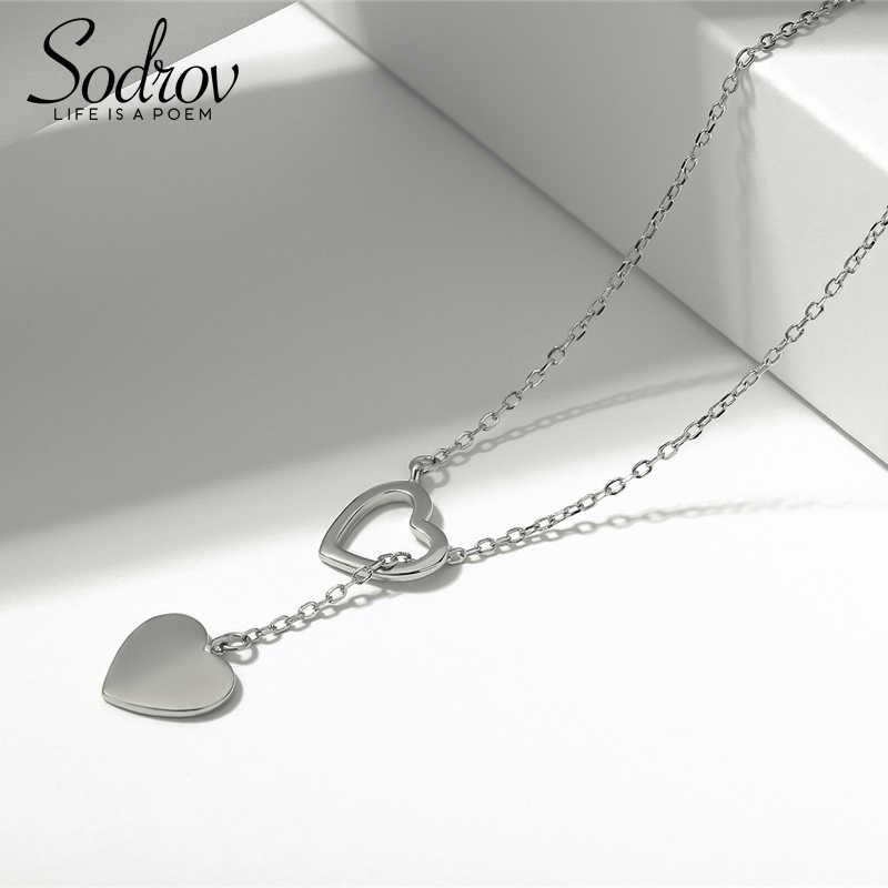 Sodrov genuíno 925 prata esterlina duplo coração colar pingente de jóias alta qualidade hn015