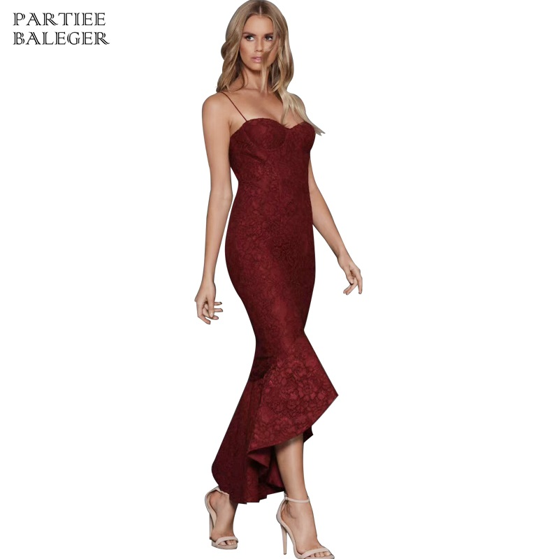 Schwarzburgund Party Patchwork Kleid Backless Club neue Sexy Langes Sleeveless Maxi Verband Lace Promi Ankunft Graceful 2019 Fischschwanz vY6gyIf7bm