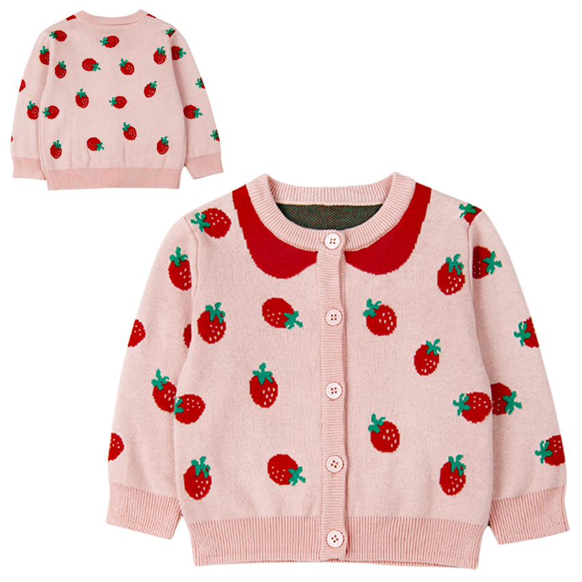f3927c2c226 Baby Girls Sweaters Autumn Winter Baby Children Clothing Cute Strawberry  Pattern Knitted Cardigan Sweater Kids Outerwear Clothes