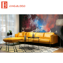 new italian modern sectional genuine Nappa soft leather sofa furniture yellow and black 3seater+chaise sofa 2017 new design italy modern leather sofa soft comfortable livingroom genuine leather sofa real leather sofa set 321seat l29a
