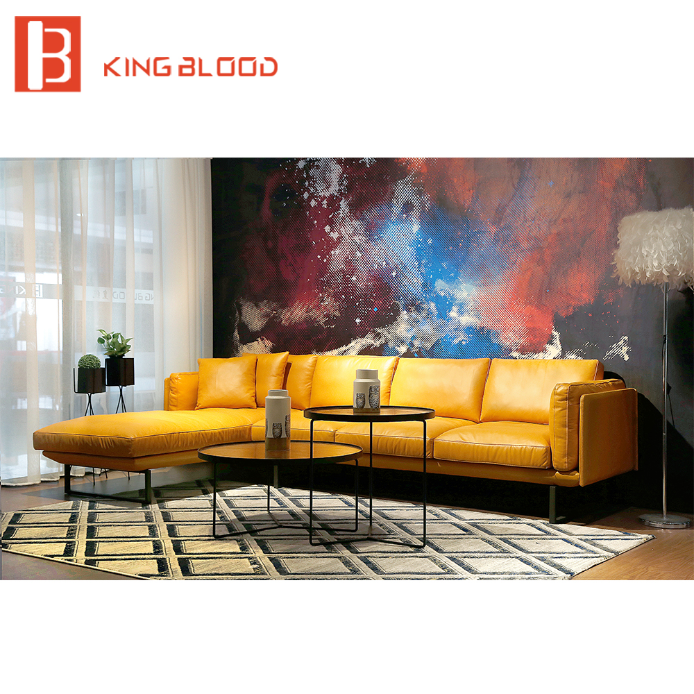 Galleria fotografica new italian modern sectional genuine Nappa soft leather <font><b>sofa</b></font> furniture yellow and black 3seater+chaise <font><b>sofa</b></font>