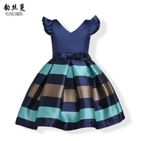 New Girls Party Dress Size 2 4 6 8 10 Years Kids Dark Blue Cotton Lining