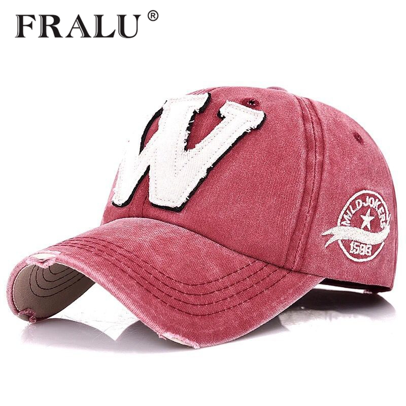 FRALU Cotton Embroidery Letter W   Baseball     Cap   Snapback   Caps   Bone casquette Hat Distressed Wearing Fitted Hat For Men Custom Hats