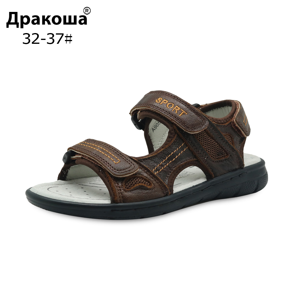 Apakowa Brand Boys Cowhide Beach Sandals Kids Summer Hook & Loop Genuine Leather Flat With Sandals Orthopedic Shoes Eur 32-37