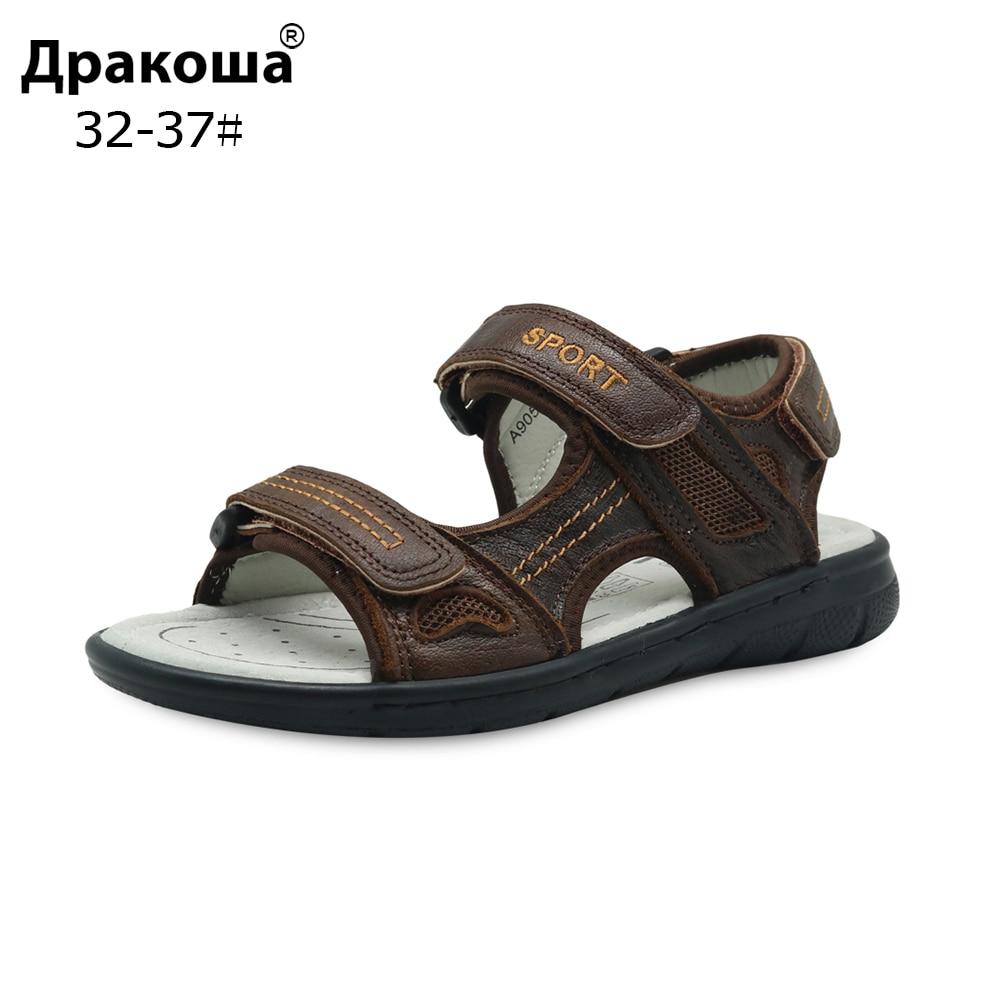 Apakowa Brand Boys Cowhide Beach Sandals Kids Summer Hook & Loop Genuine Leather Flat With Sandals Orthopedic Shoes Eur 32-37