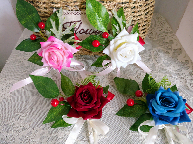 Купить с кэшбэком whosale Burgundy rose brooch groom corsage groomsman flowers wine red petalos de rosa de bodaBoutonnieres