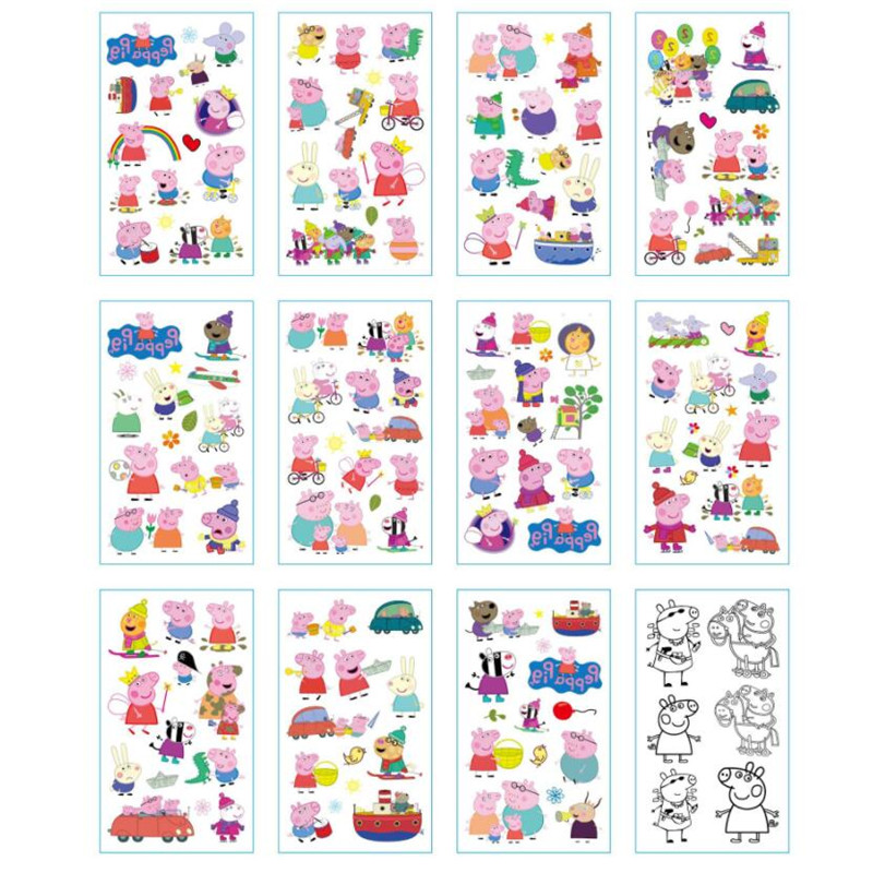 12Pcs Peppa Pig Stickers Cartoon Tattoo sticker Children Stickers Toys Emoji PVC Scrapbook Gifts For Kids peppa pig find the hat sticker book
