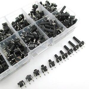 Image 2 - 10 modelos 200 Uds 6*6 Interruptor táctil Kit de interruptor de botón pulsador, altura: 4,3 MM ~ 13MM DIP 4P micro Switch 6x6 Key Switch