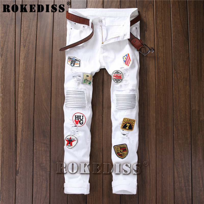 ФОТО overalls men 2017 Spring and Autumn personality Tight Elasticity embroidery badge casual pants personality  zipper trousers C184