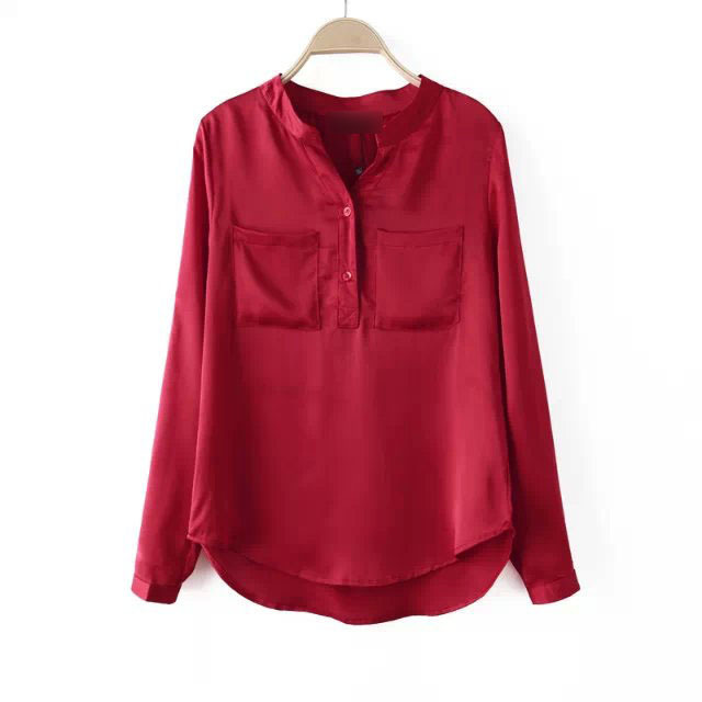 76871d2f06a1e1 New 2015 Women Blouse Red Shirt Tops Long Sleeves Shirt Casual Women Blouse  Two Pockets Blouse Free Shipping MA8068