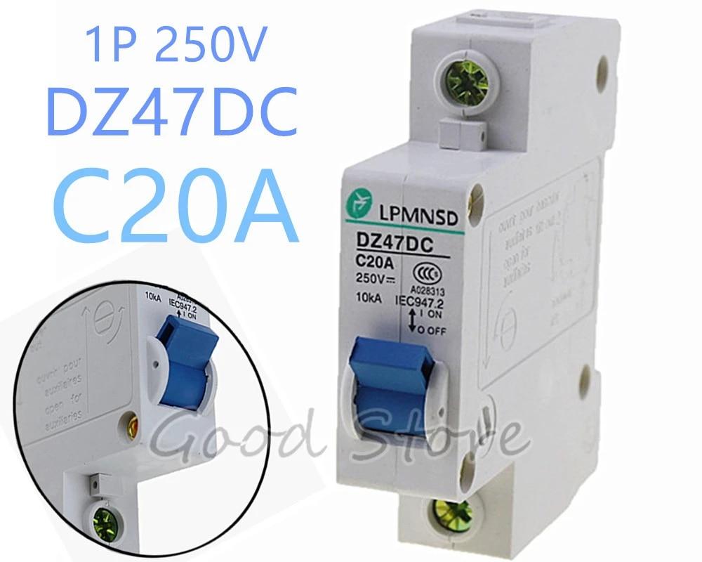 DC Circuit Breaker 20AMP 1 Pole 10ka MCB