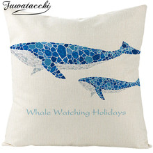 Fuwatacchi Sea Creatures Linen Cushion Cover Penguins Whale Tuna Marlin Throw Pillow White and Blue Pillowcases Square