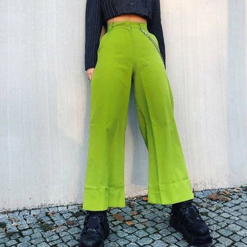Summer Streetwear Neon Color Casual   Pants   Femme High Waist   Wide     Leg     Pants   Fashion Slim Loose Pocket Trousers