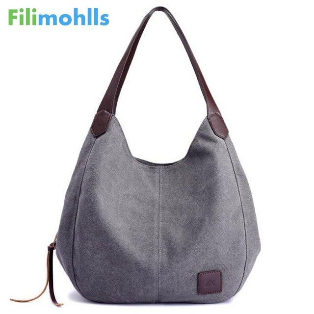 Women's Canvas Handbag Lady Canvas Hobo Bag Female Large Capacity Shoulder Bag