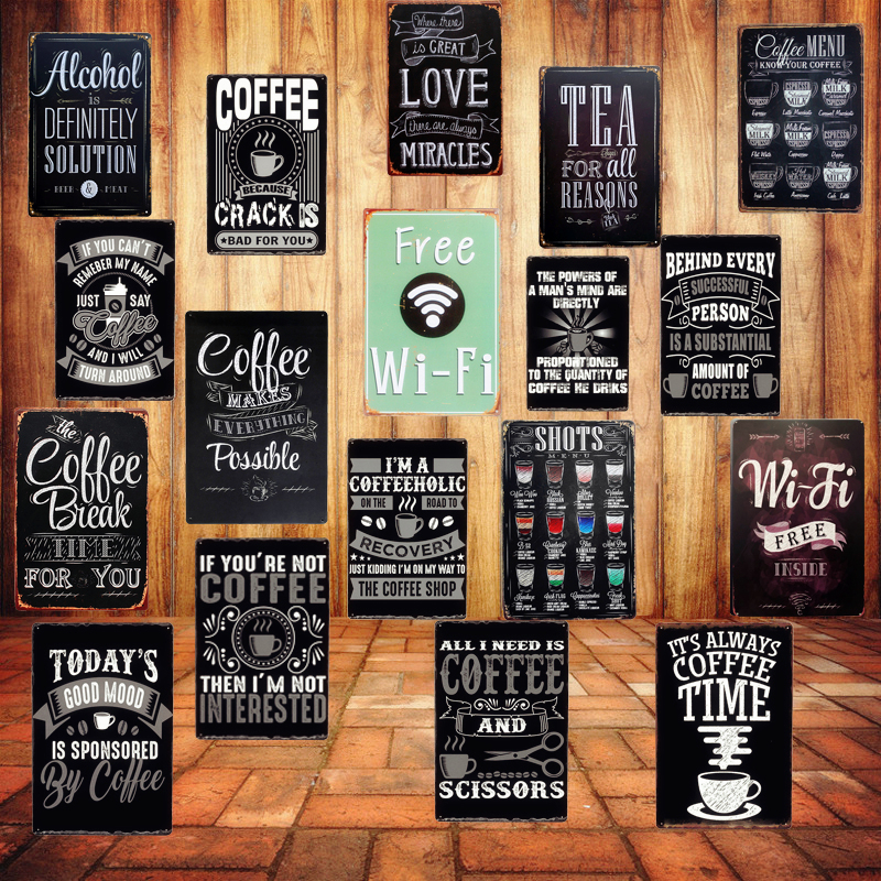 Free WIFI Shabby Chic Home Bar Cafe Vintage Wall Decor Art Metal Tin Signs Pub Tavern Retro Decorative Plates Metal Poster A755 shelf