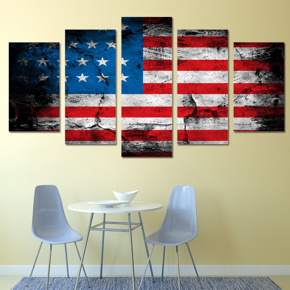 5 Piece Canvas Art American Flag Printed Wall Home Decor Painting Picture Poster And Prints Free Shipping Ha009c In Calligraphy From