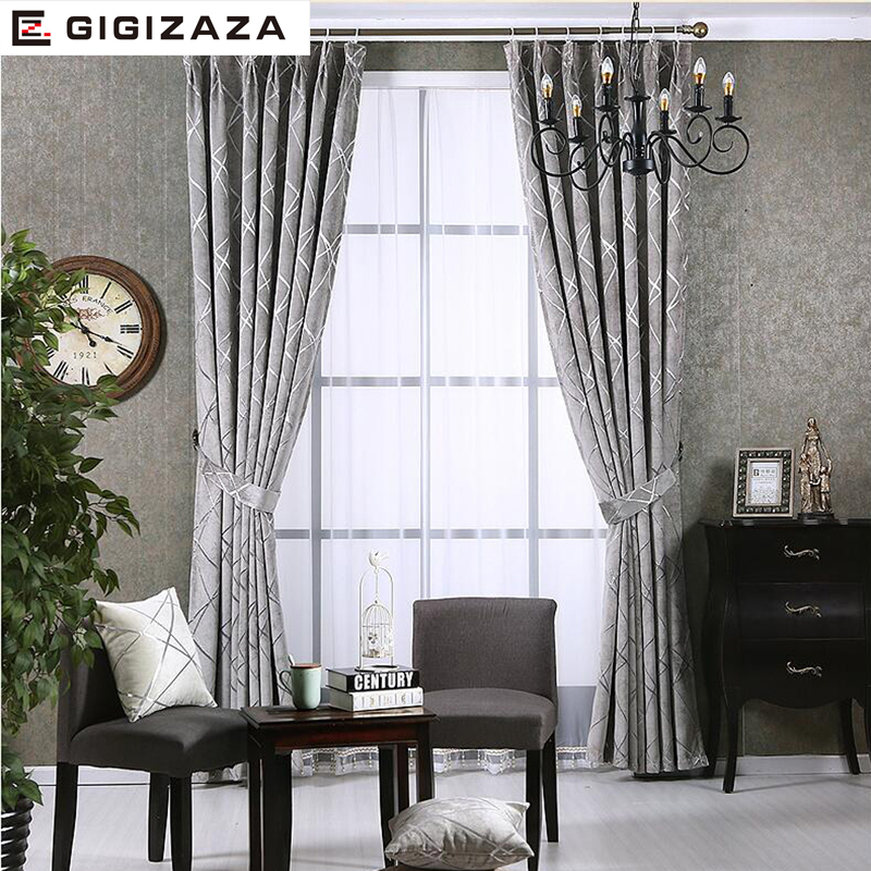 Image 2 - Blackout Jacquard Fabric for Curtains for the Living room Custom  Size Ivory Grey Tan American Style the Curtains On the Windowfabric for  curtainscurtains in the kitchencurtains for