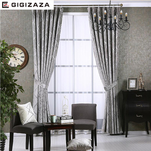 Image 2 - Blackout Jacquard Fabric for Curtains for the Living room Custom Size Ivory Grey Tan American Style the Curtains On the Window