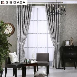 Image 2 - Mất Điện Vải Dệt Hoa Cho Chăn Màn Cho Phòng Khách Tùy Chỉnh Kích Thước Ngà Xám Tân Phong Cách Màn Cửa Trên cửa Sổ