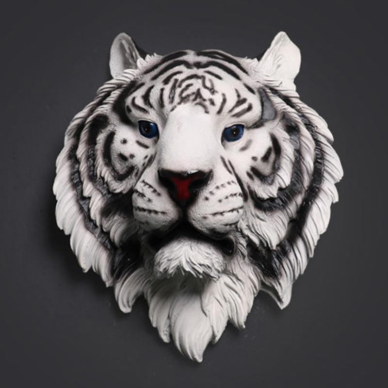 Tiger Head Sculpture Home Wall Hanging Statue Decoration Creative Resin Animal Ornament Artwork Craft Wine Bar