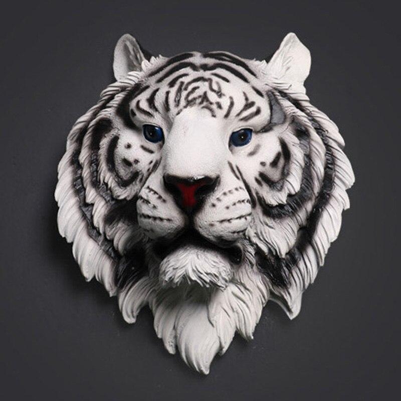 Tête de tigre Sculpture Maison Tenture Statue Décoration Creative Résine Ornement Animal Motifs Artisanat Vin Bar Bureau Décoration