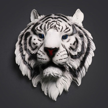 Tiger Head Sculpture Home Wall Hanging Statue Decoration Creative Resin Animal Ornament Artwork Craft Wine Bar Office