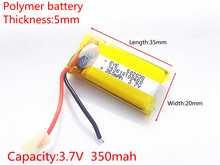 3.7V 350mAh 502035 Lithium Polymer Li-Po li ion Rechargeable Battery cells For Mp3 MP4 MP5 GPS PSP mobile bluetooth