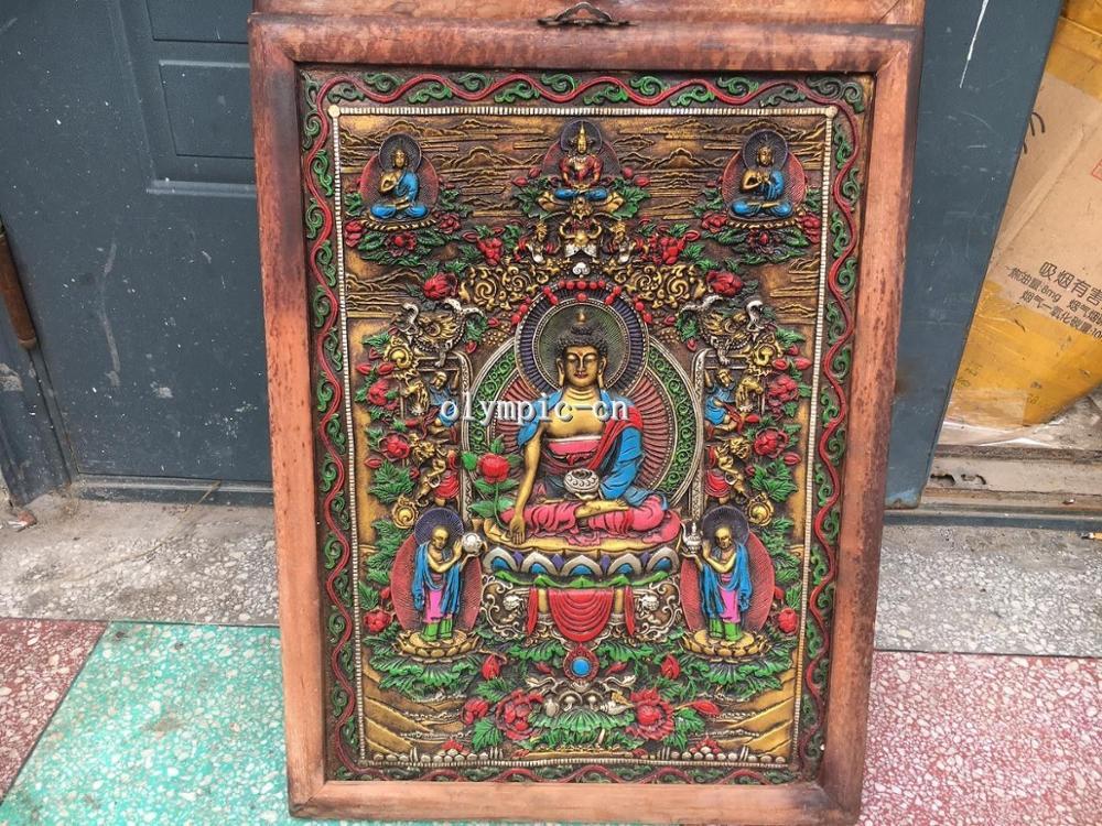 29 ''bois artisanat couleur dessin tathagata Vairochana bouddha tibet Thang-ga