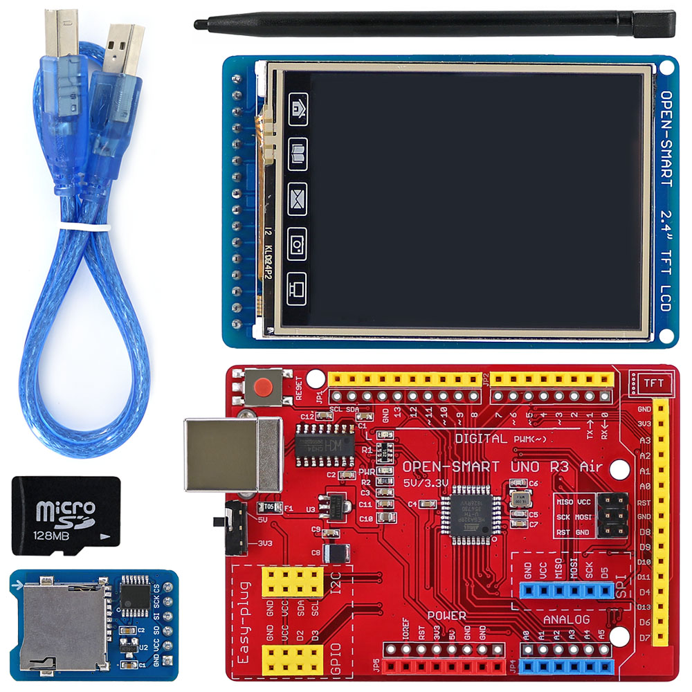 OPEN-SMART 2.4 Inch 240*320 TFT LCD Touch Screen Breakout Board Kit With Easy-plug UNO R3 Air Board For Arduino UNO R3 / Nano