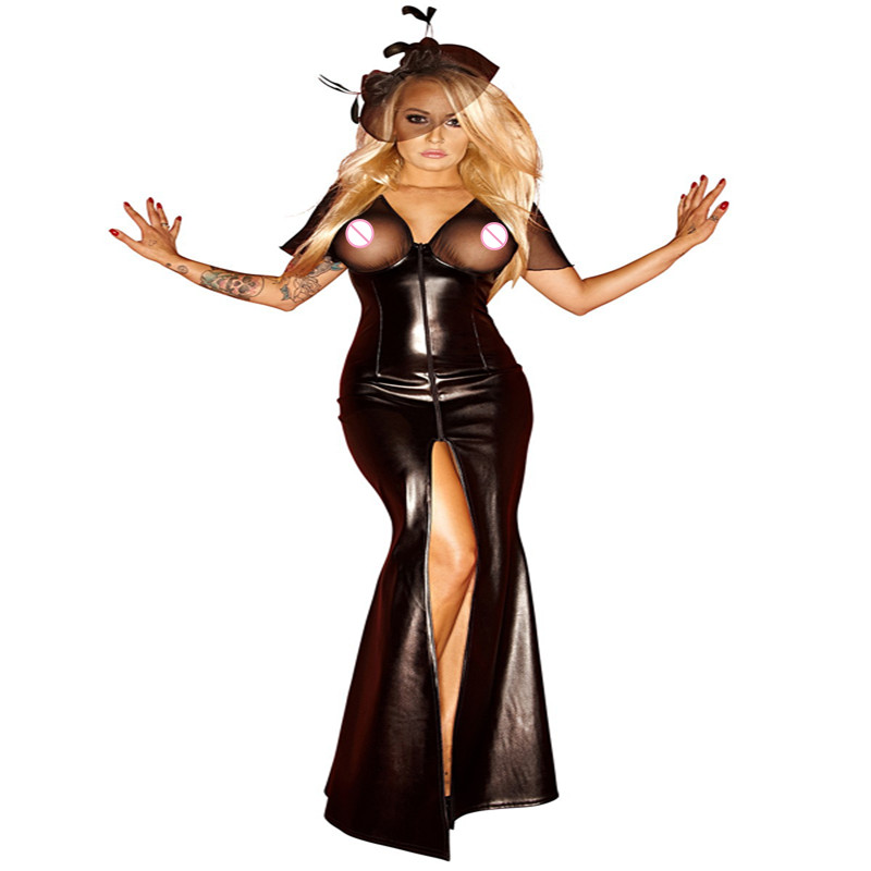 <font><b>Sexy</b></font> Faux Leather Bodycon Slit Mermaid <font><b>Dress</b></font> Club Party Evening Robe Gown Sheath <font><b>Dress</b></font> Women <font><b>Naughty</b></font> Costumes Uniform image