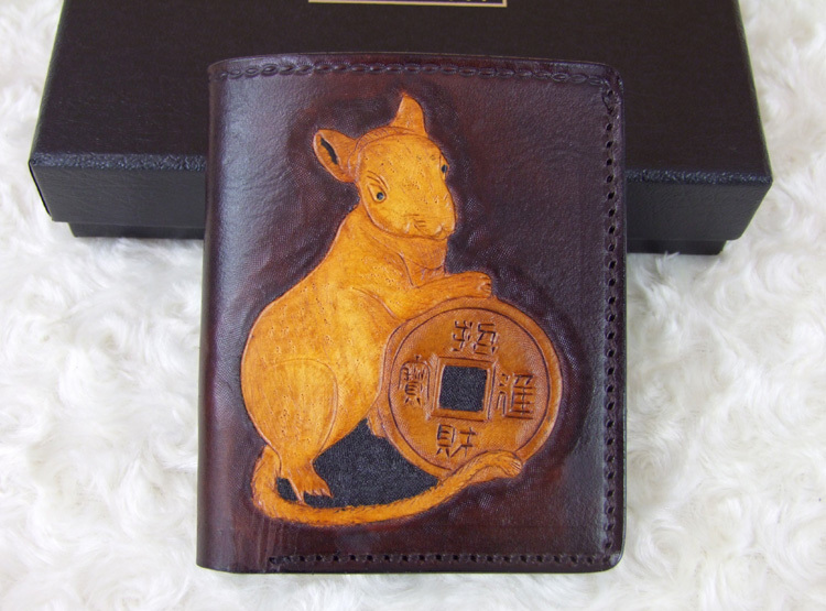 Hong Kong OLG. YAT Zodiac Mice carved by hand purse Men's brief paragraph (vertical)purse/ wallet Italian  pure leather wallets робот zodiac ov3400
