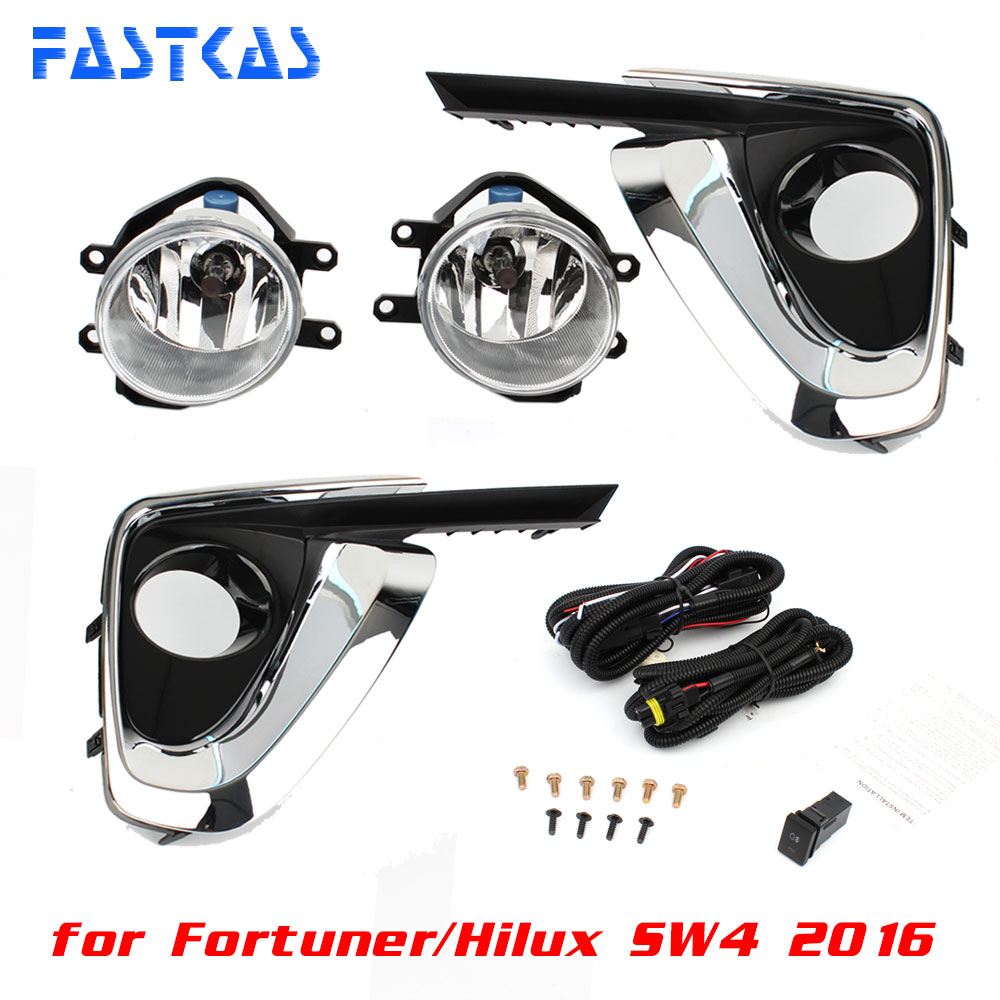 12v Car Fog Light Assembly for Toyota Fortuner/Hilux SW4 2016 Front Left and Right set Fog Light Lamp with Harness Relay 2pcs auto right left fog light lamp car styling h11 halogen light 12v 55w bulb assembly for ford fusion estate ju  2002 2008