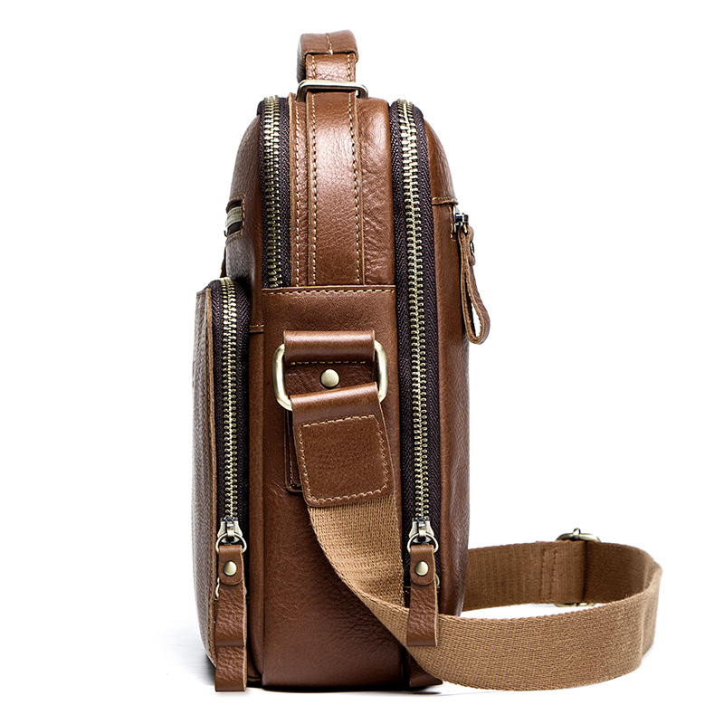 CONTACT'S casual men's messenger bags genuine leather shoulder bags for man luxury brand male crossbody bag fashion for ipad 2