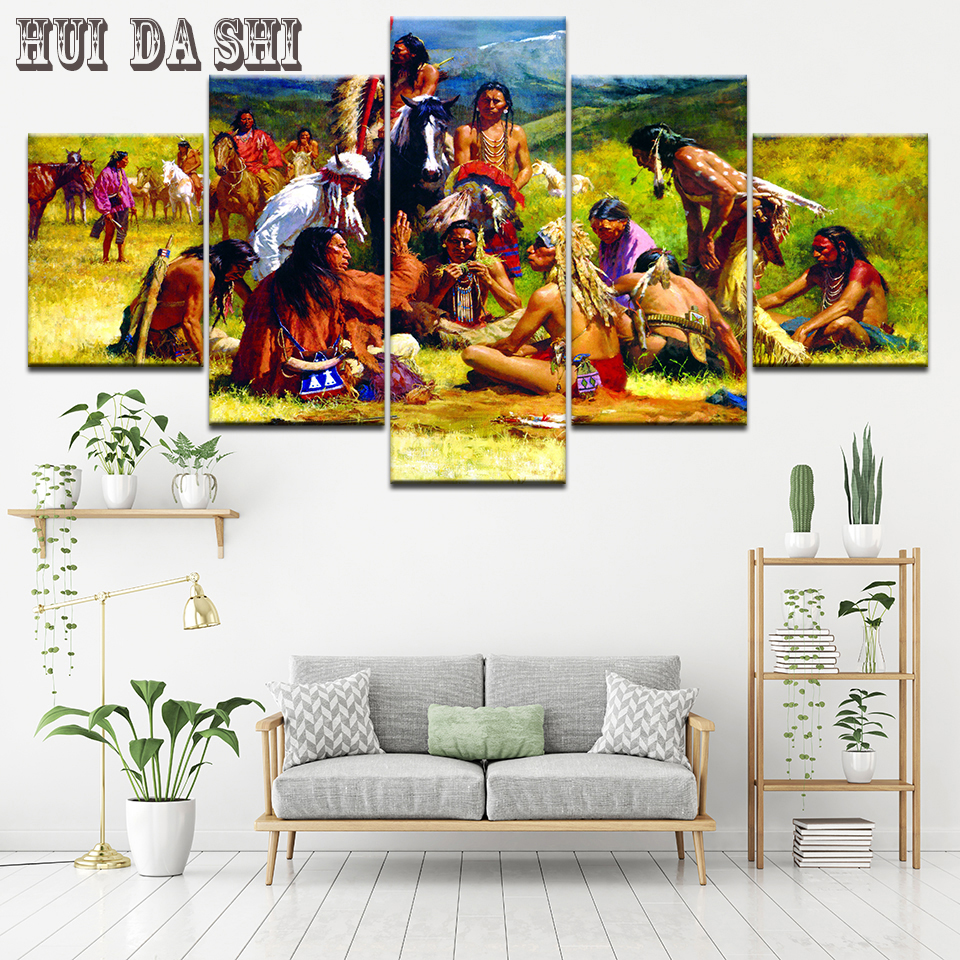Hd Prints Modular Pictures Canvas Paintings Framework Home Decor 5 Pieces Modern American Native Tribes Indian Posters Wall Art Painting Calligraphy Aliexpress