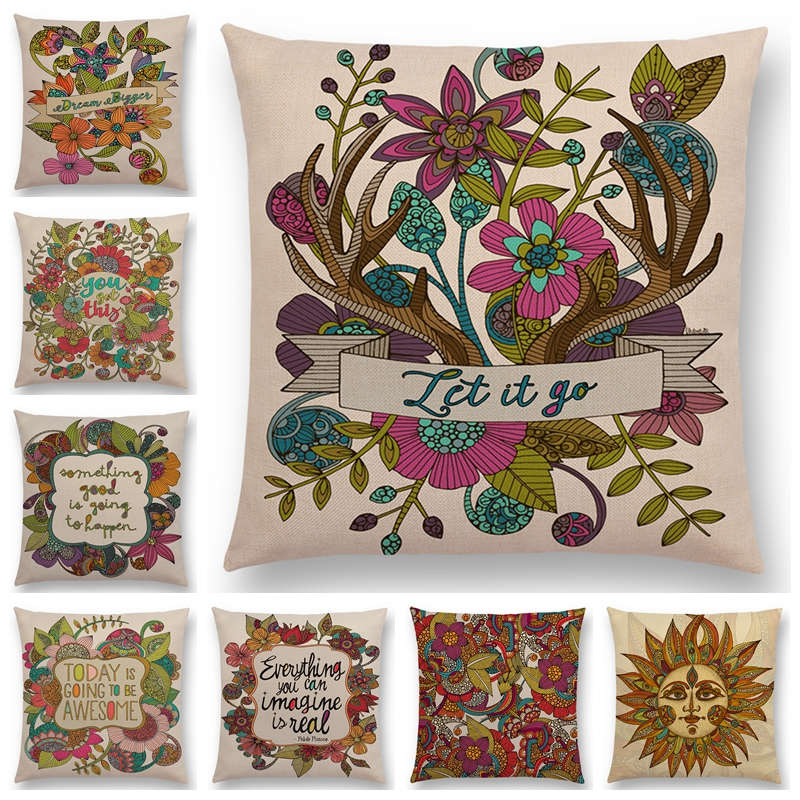 Us 299 40 Offhot Sale India Gaya Cantik Mandala Bunga Matahari Pola Bunga Dekoratif Huruf Kata Kata Yang Bermakna Cushion Sampul Bantal Case In