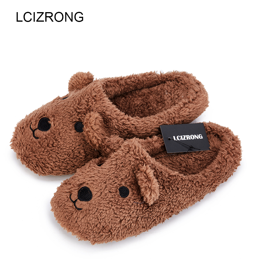LCIZRONG Women Brown Bear Plush Home Slippers Non-slip Large Size Family Animal Slipper Woman Indoor Shoes House Slippers