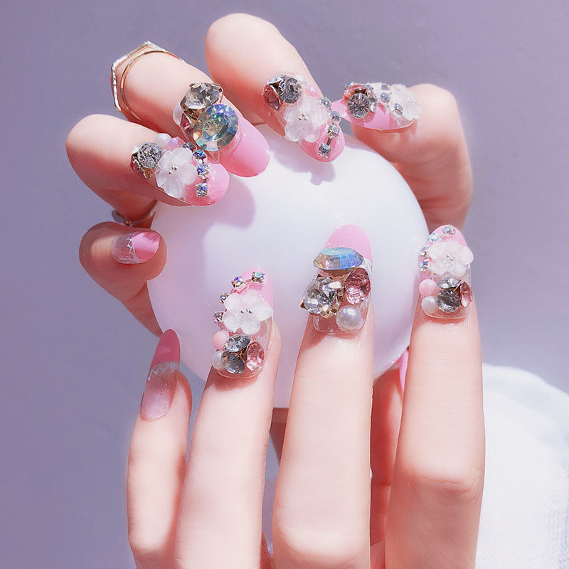 24pcs/Set Luxury Rhinestone Flora Bride Nail Art Pre