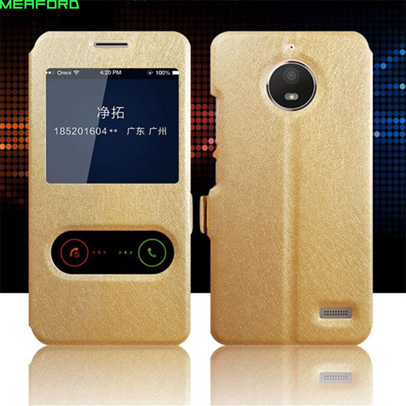 view window flip case For Moto <font><b>E4</b></font> Case anti-knock quick answer call leather cover For <font><b>Motorola</b></font> <font><b>E4</b></font> <font><b>XT1762</b></font> XT1772 phone coque case image