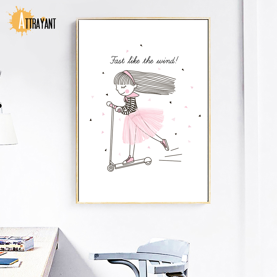 Cartoon Diamond Scooter Girl Wall Art Canvas Painting Nordic Posters And Prints Wall Pictures Baby Girl Room Bedroom Home Decor in Painting Calligraphy from Home Garden