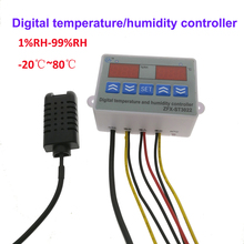 جهاز التحكم بدرجة الحرارة والرطوبة الرقمية منظم الحرارة الرطوبة ميزان الحرارة الرطوبة التحكم مع أجهزة الاستشعار 220 فولت