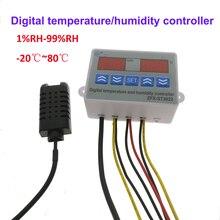 דיגיטלי טמפרטורת לחות בקר רגולטור טרמוסטט Hygrostat מדחום מדדי לחות שליטה עם חיישנים 220V