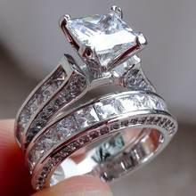 Комплект колец из 2 предметов с белым золотом и кристаллами